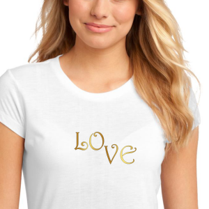 LOVE in Metallic Gold lettering